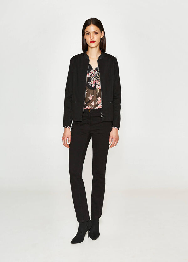 Blazer with knitted design and zip | OVS
