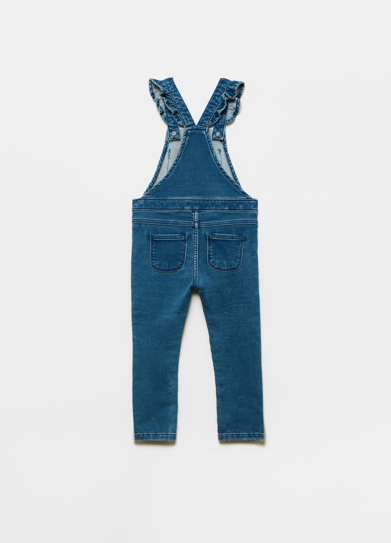 Dungarees in denim French Terry with pockets image number null