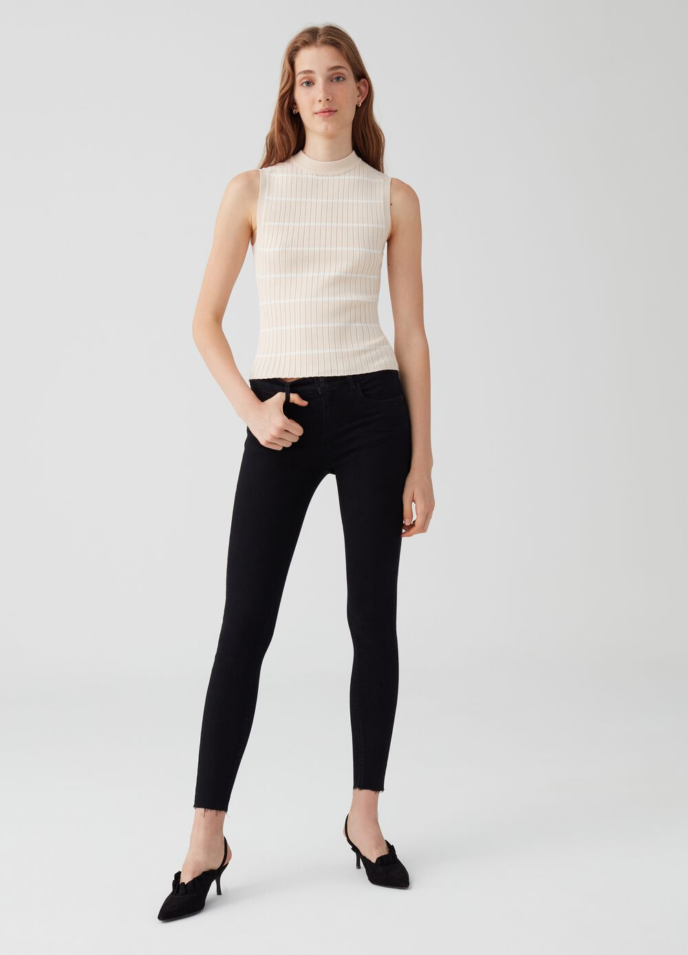 Organic cotton superskinny push-up trousers