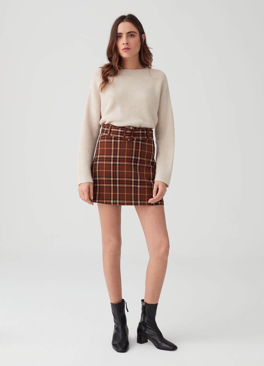 Check viscose blend mini skirt
