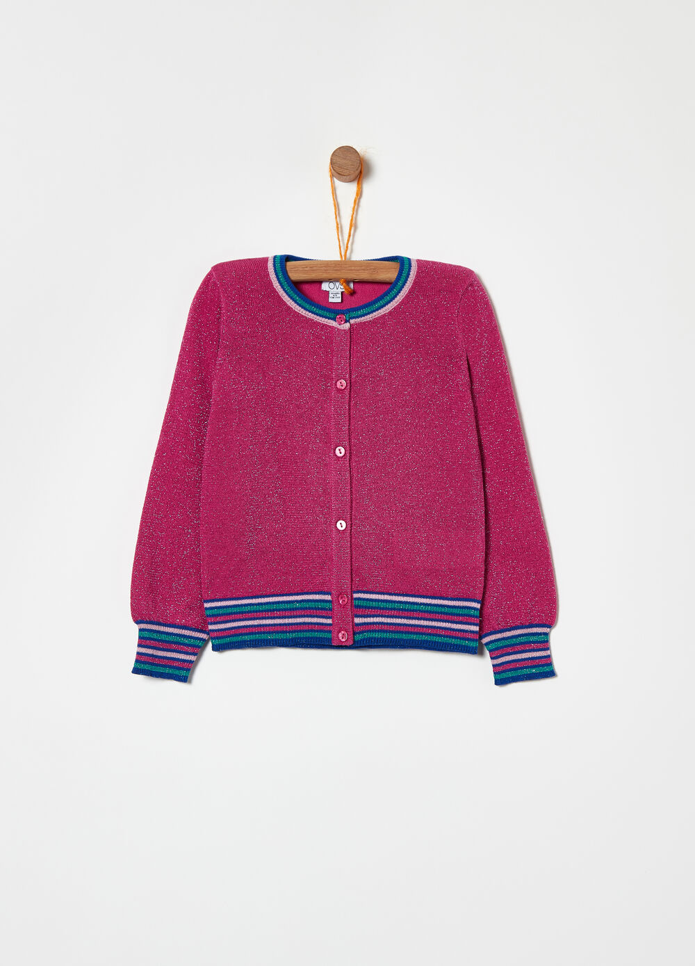 Lurex cardigan with striped ribbing