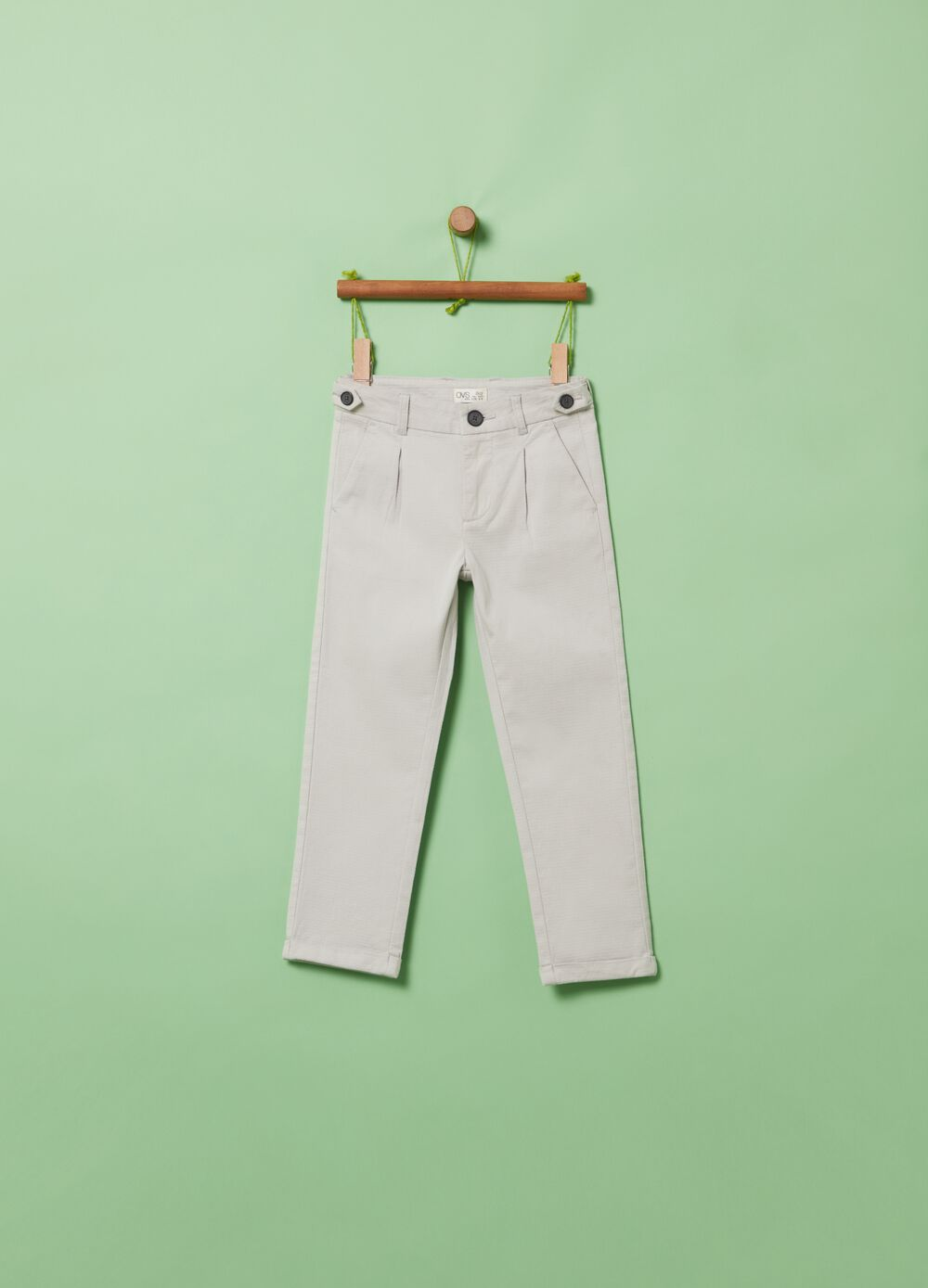 Stretch cotton trousers with buttons