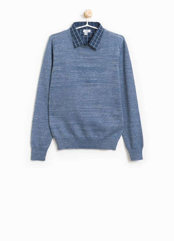 Cotton pullover with check collar | OVS
