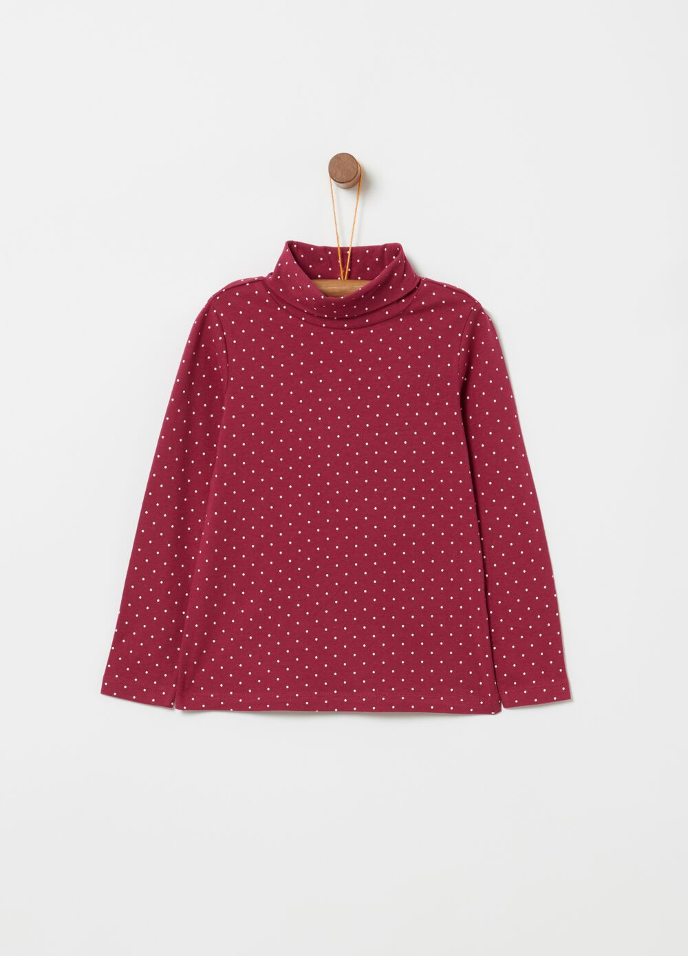 Stretch cotton turtle-neck jumper with polka dot print