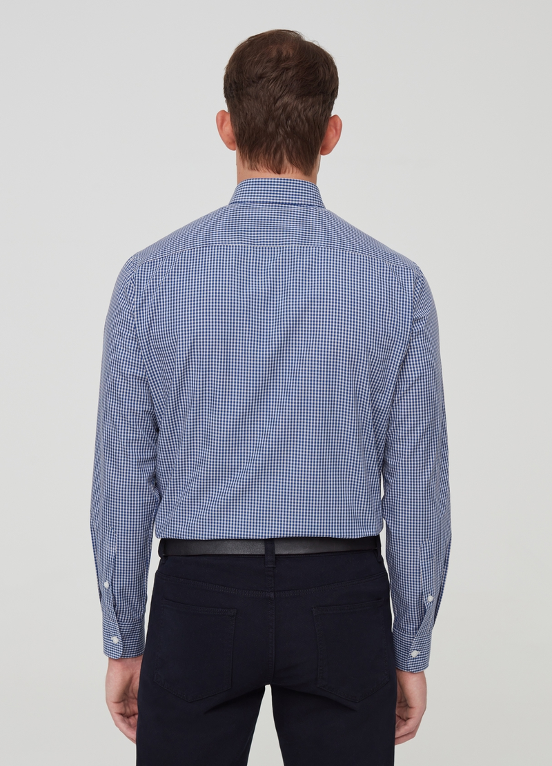 Shirt with check bluff collar image number null