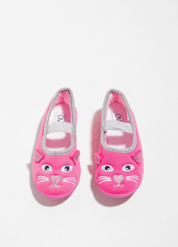 Ballerina slippers with animal embroidery