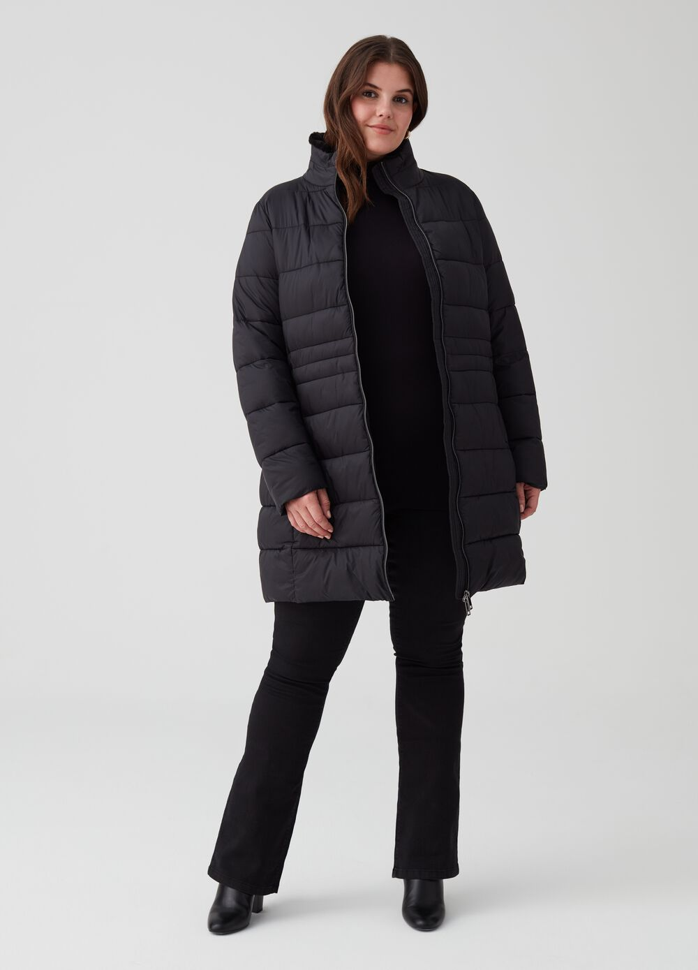 Curvy long padded coat with zip