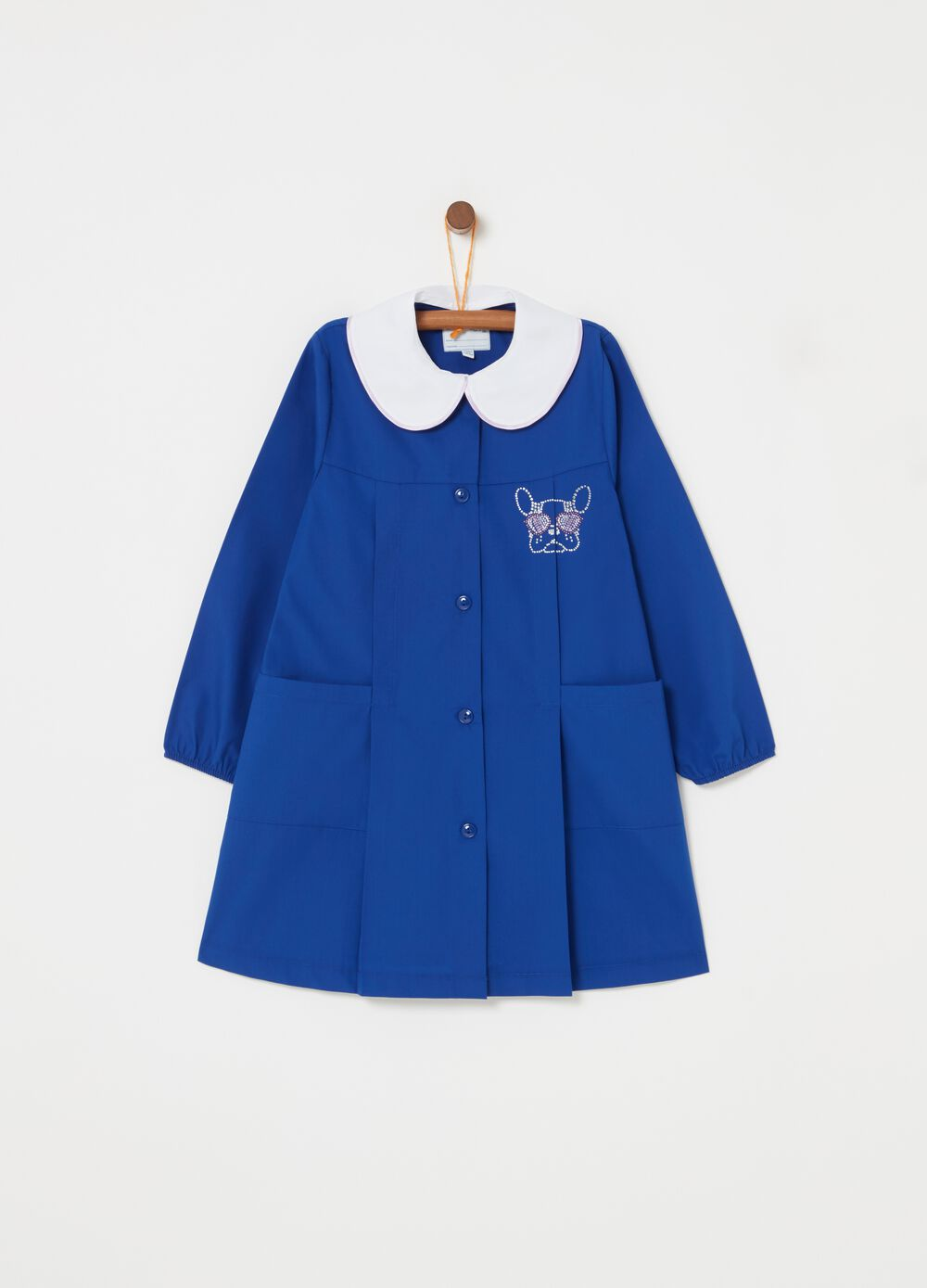 Smock with puppy motif diamantés