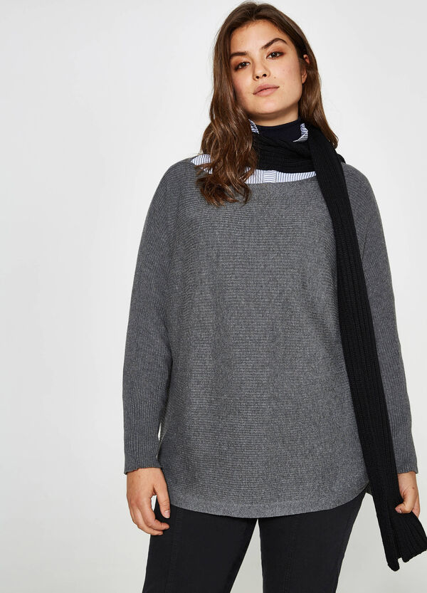Curvy cotton and viscose knit pullover   OVS