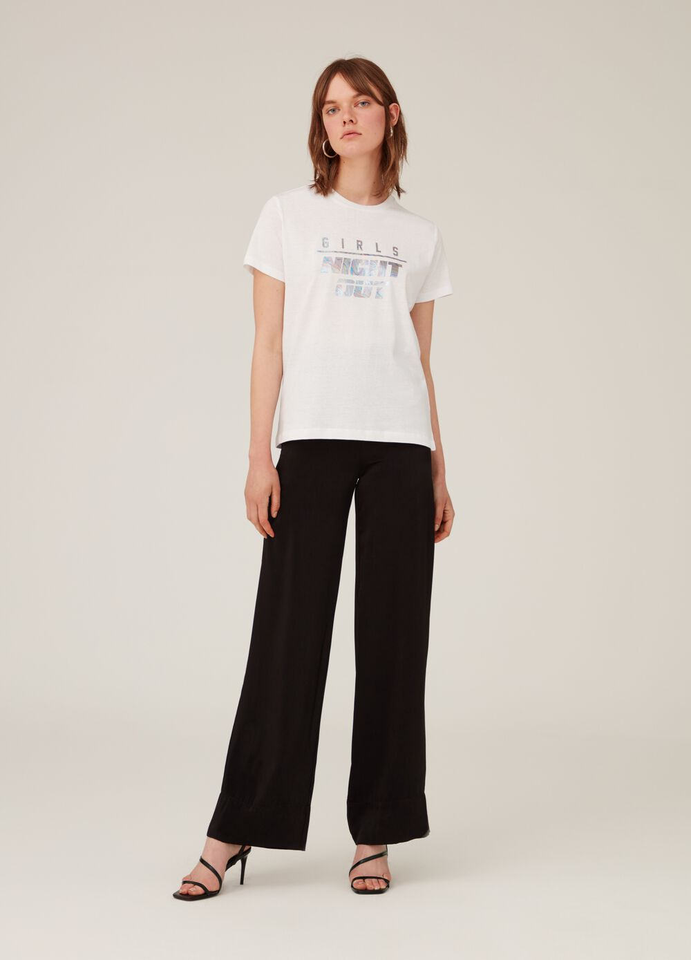 Cotton T-shirt with shiny-effect print