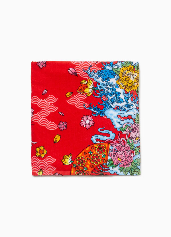 Cotton beach towel with Japanese print