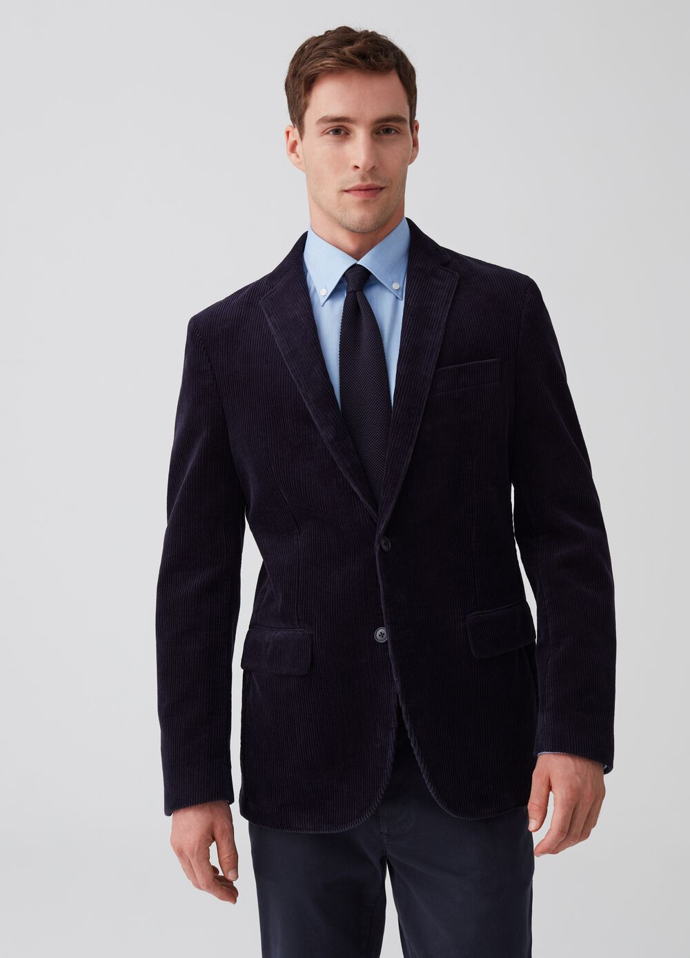 Stretch corduroy blazer with two buttons