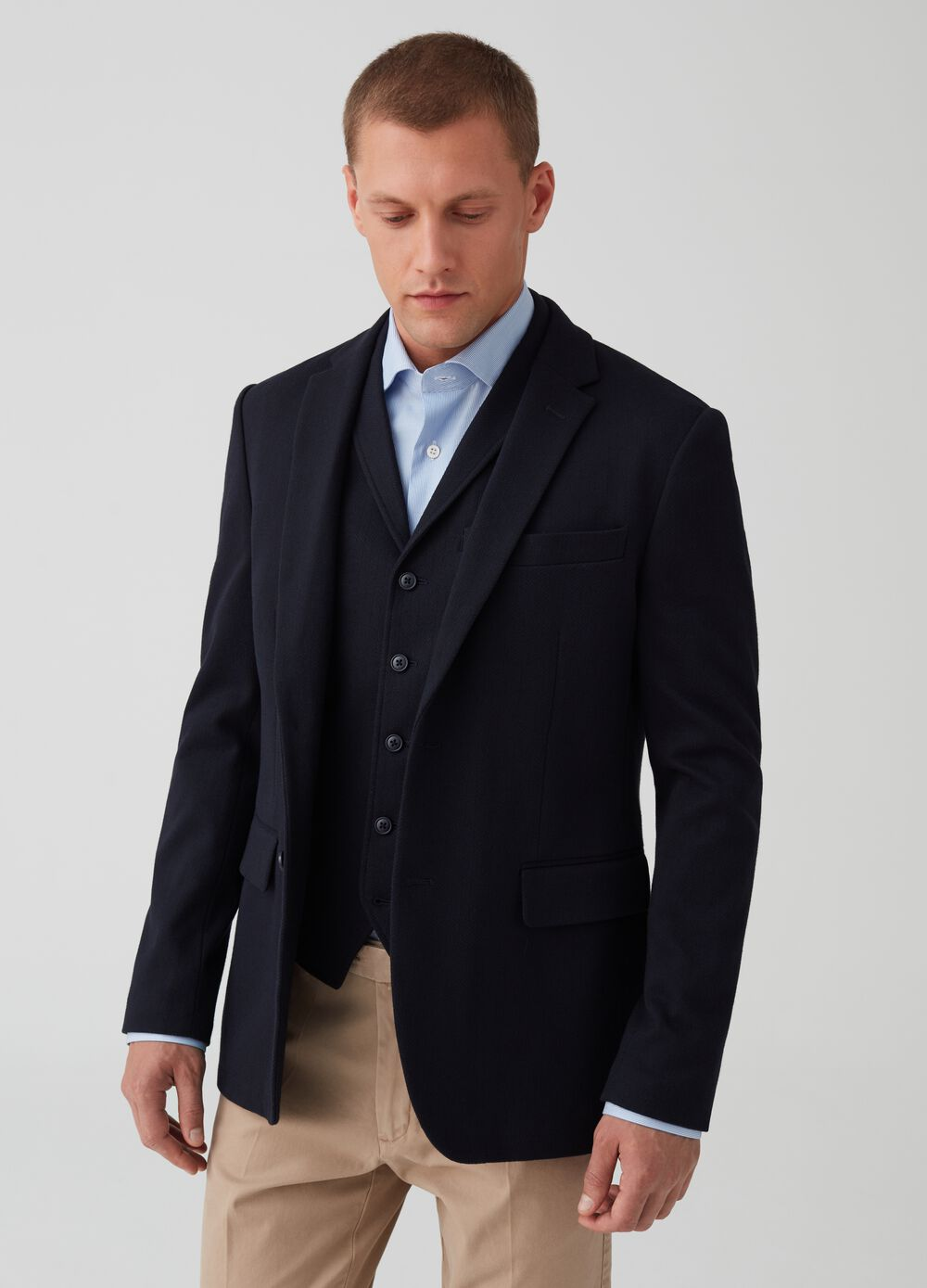 Two-button jacket with herringbone design