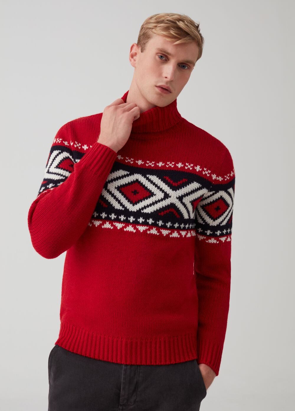 Knitted Christmas jumper in wool blend