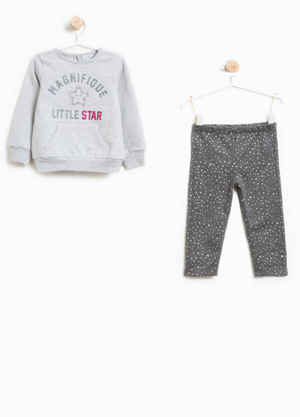 Tracksuit in cotton with glitter pattern and print | OVS