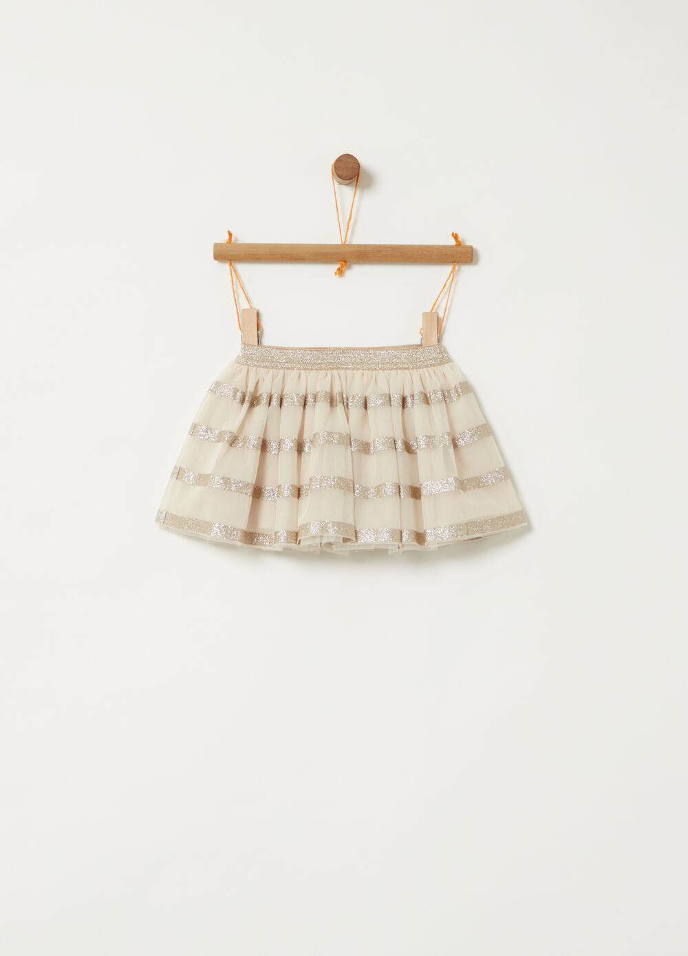 Tulle skirt with gold glitter pattern