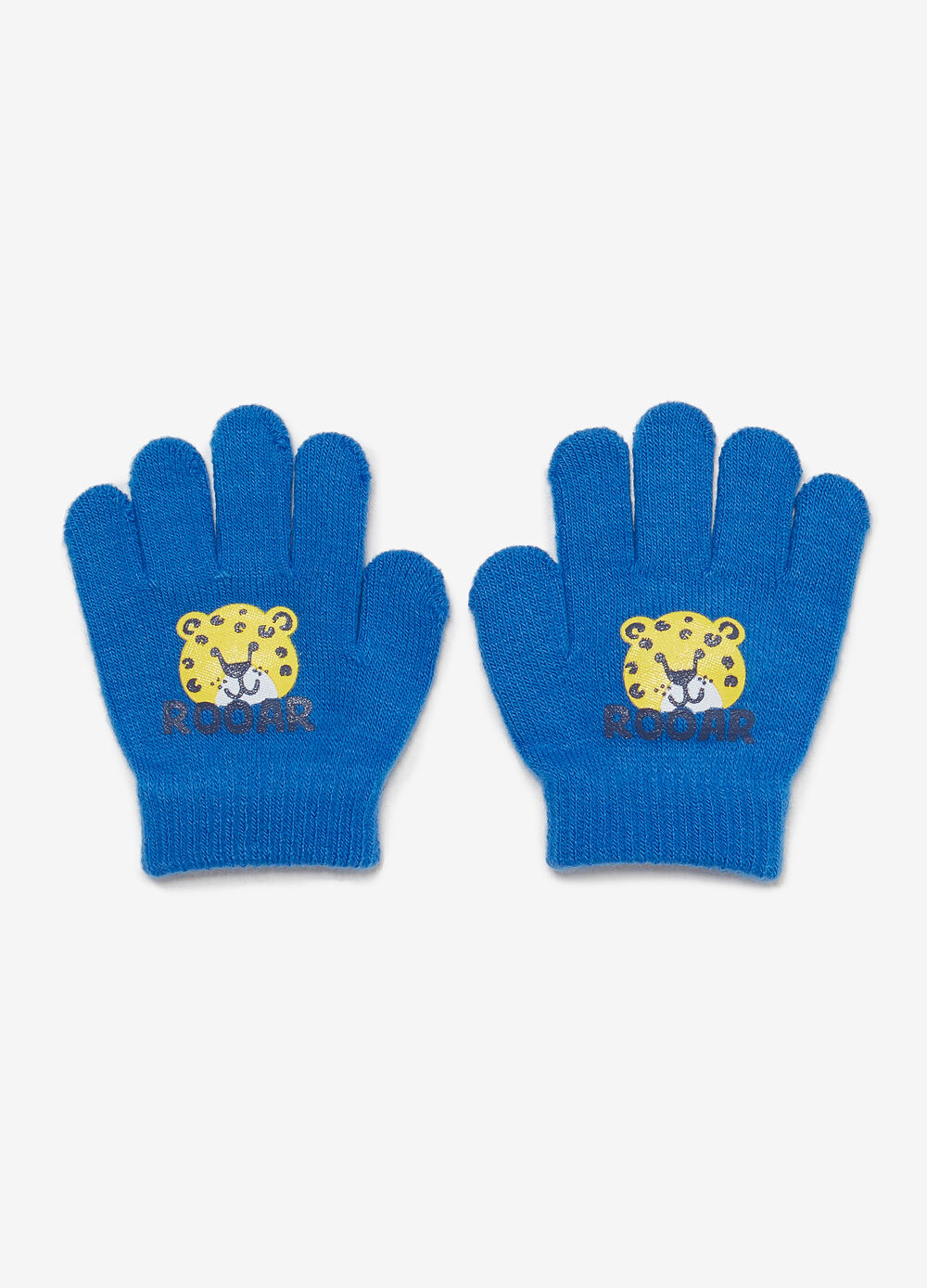 Solid colour gloves with tiger print