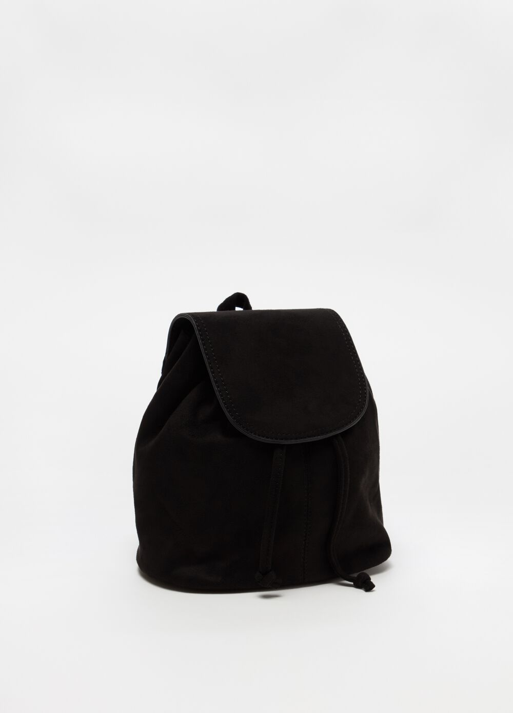 Suede-effect mini backpack with flap