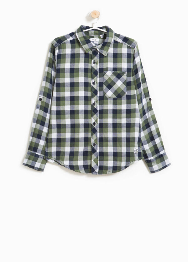 100% cotton flannel shirt with checks | OVS