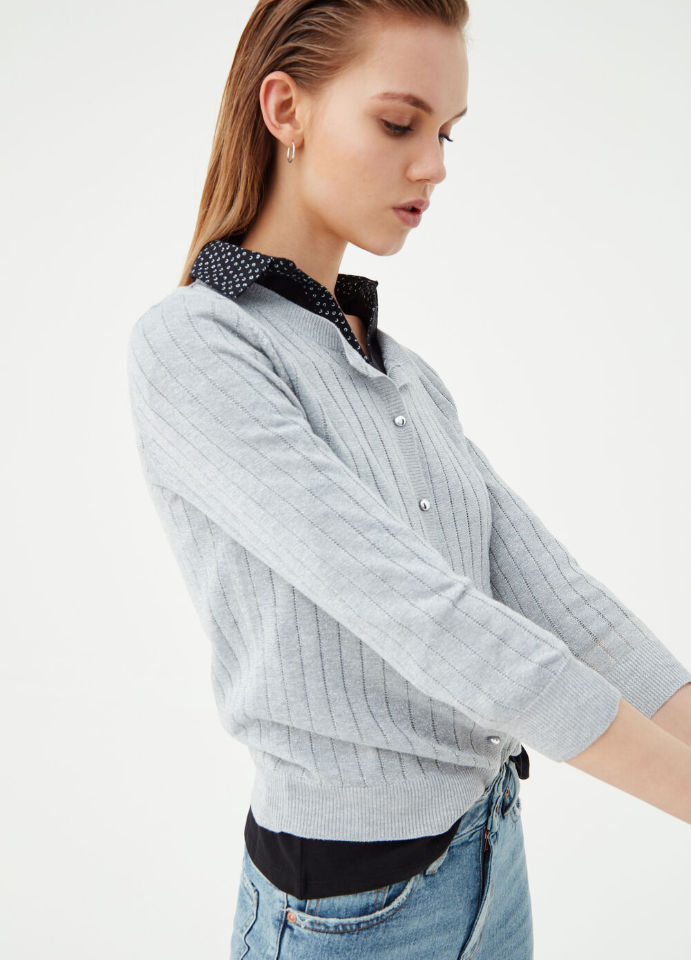 Cardigan with knitted lurex and striped texture