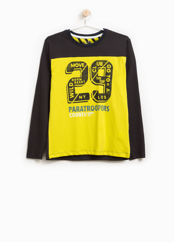 Cotton T-shirt with two-tone lettering print | OVS