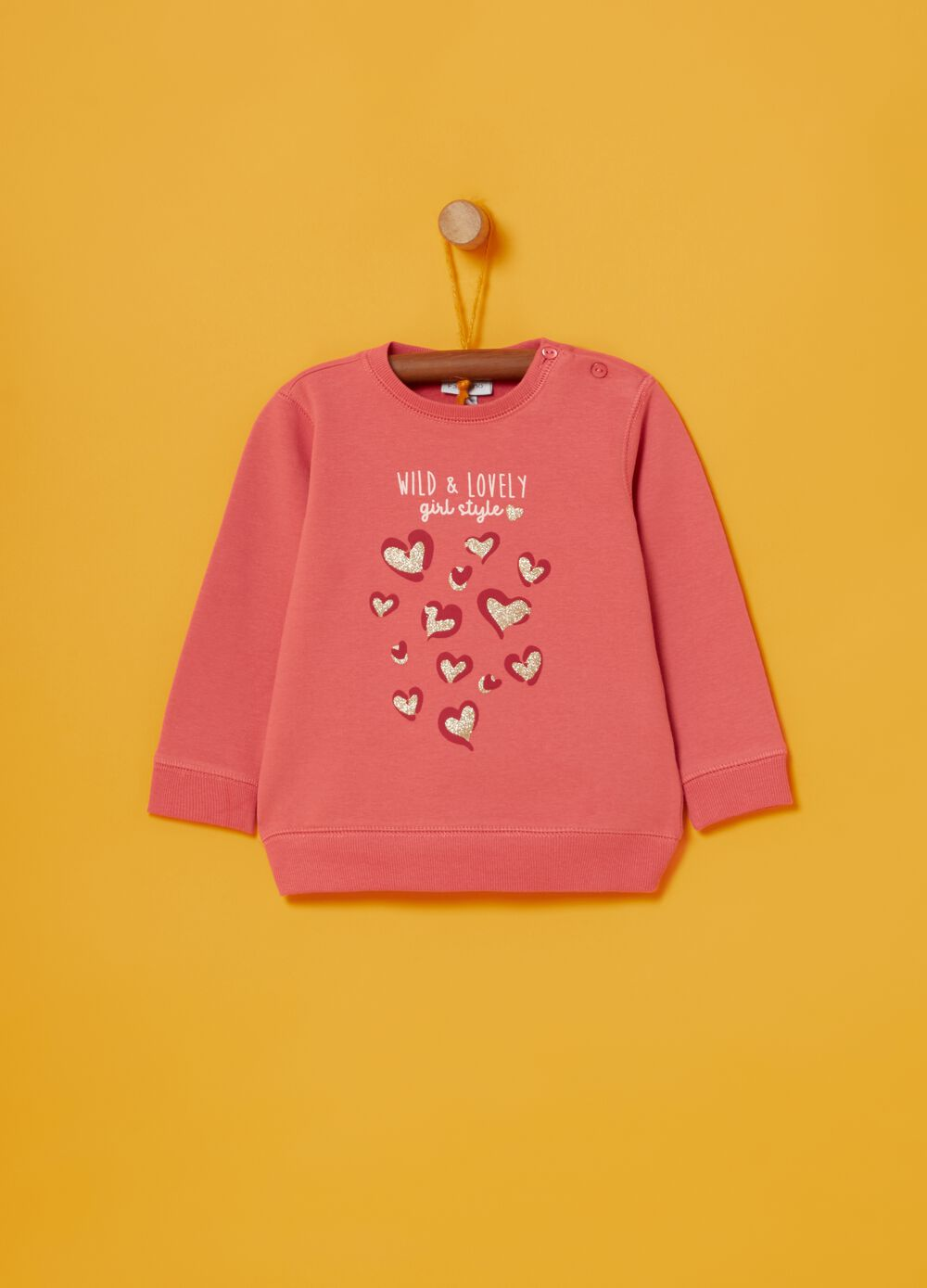 Stretch cotton sweatshirt with glitter print