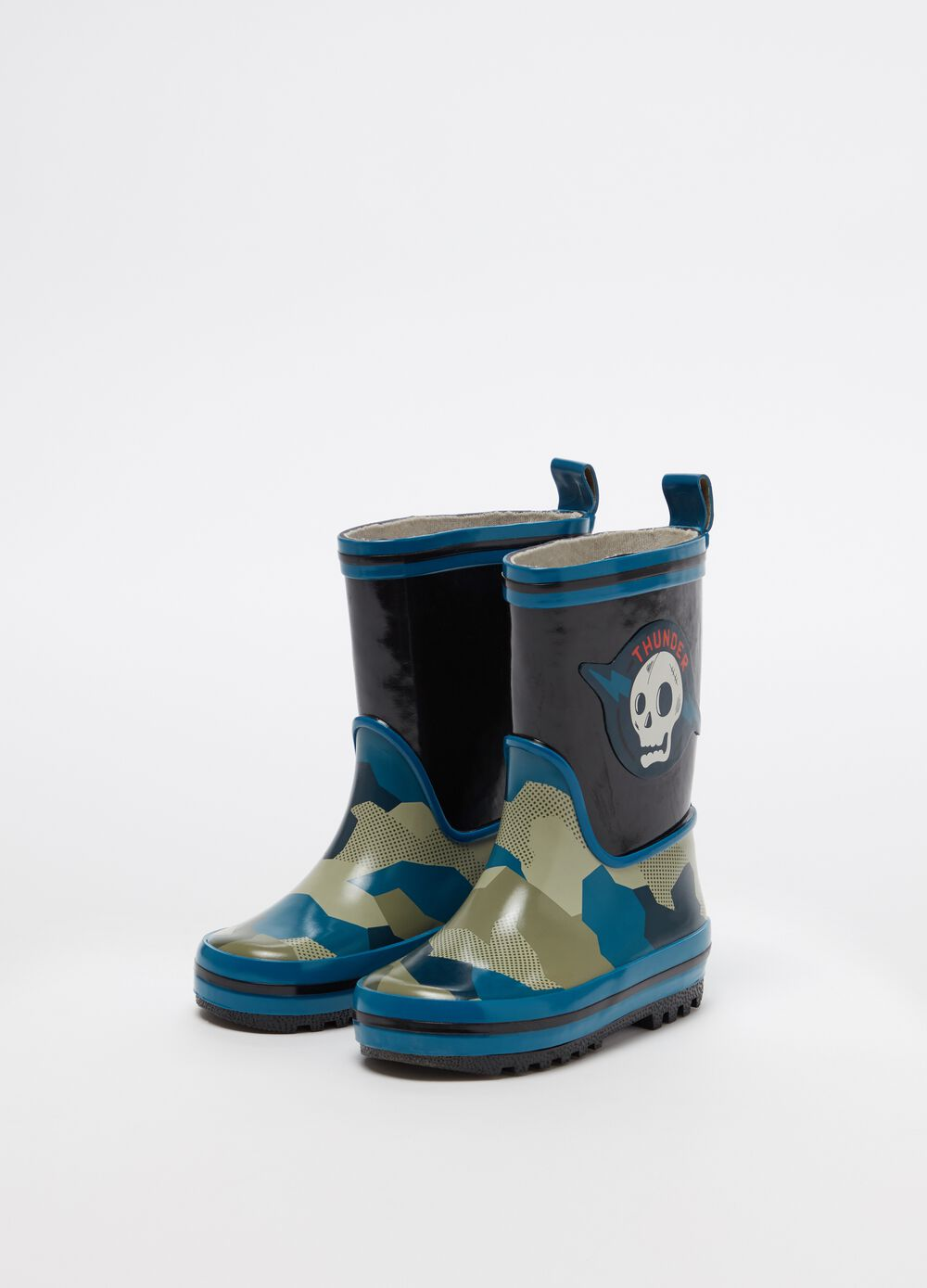Camouflage and skull rain boots