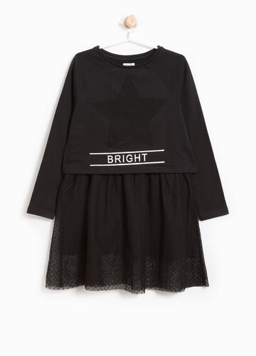 Cotton dress with tulle skirt