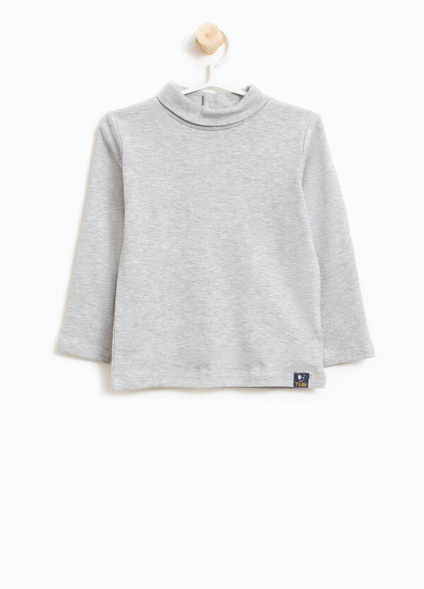 Cotton and viscose turtleneck jumper with high neck | OVS