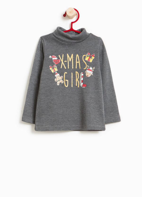 Turtleneck jumper in 100% cotton with glitter print | OVS