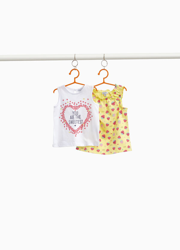 Two-pack printed and strawberry cotton tops