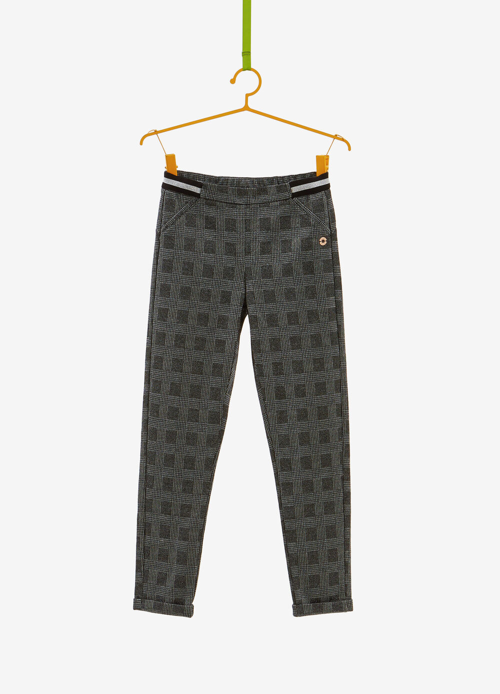 Viscose blend trousers with patterned lurex