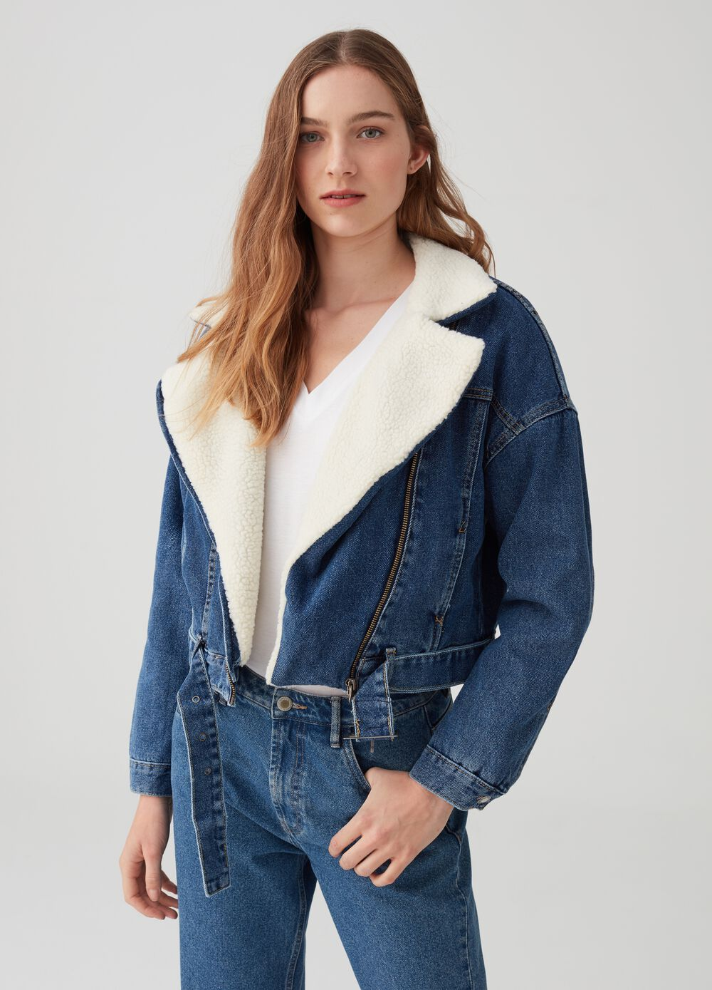 Crop jacket with sherpa-effect padding