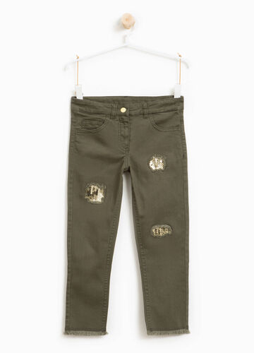Cotton twill trousers with sequins