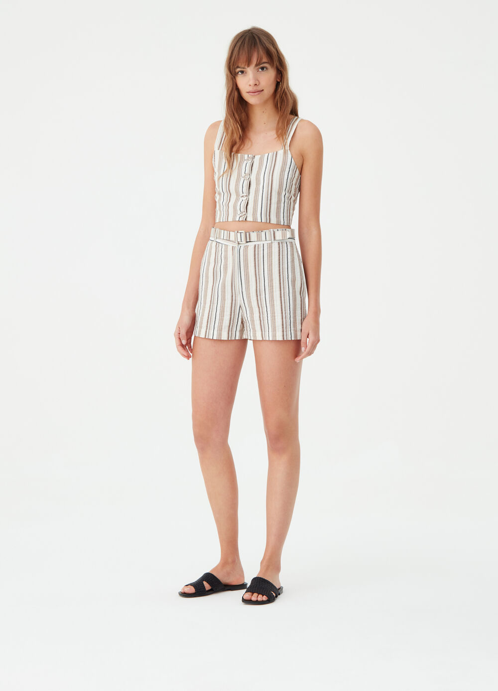 Shorts with lurex and pockets with striped pattern