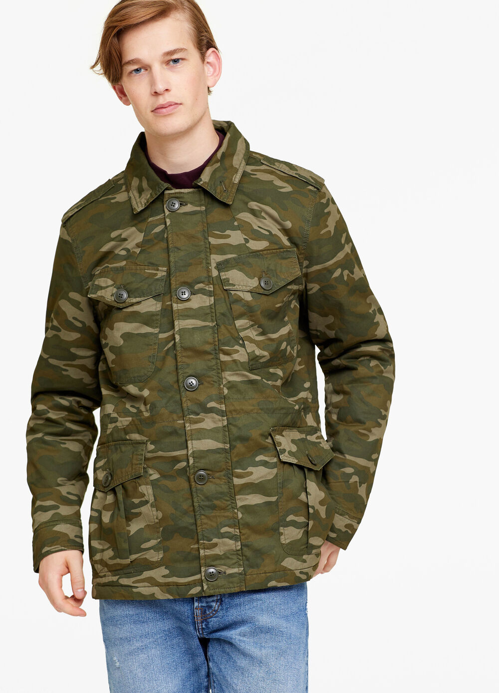 Cotton jacket with camouflage pattern