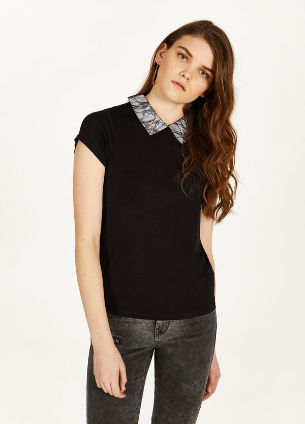 Stretch viscose T-shirt with collar