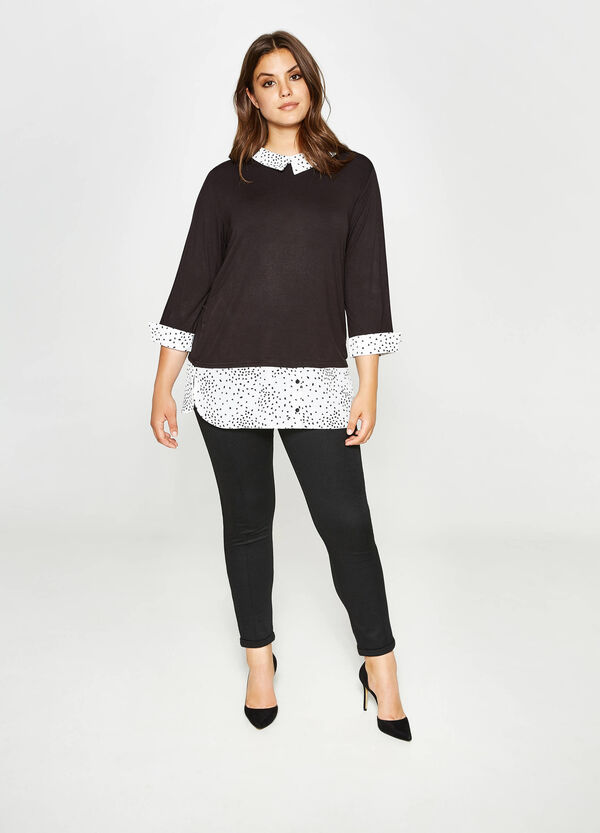 Curvy faux-layered patterned T-shirt   OVS