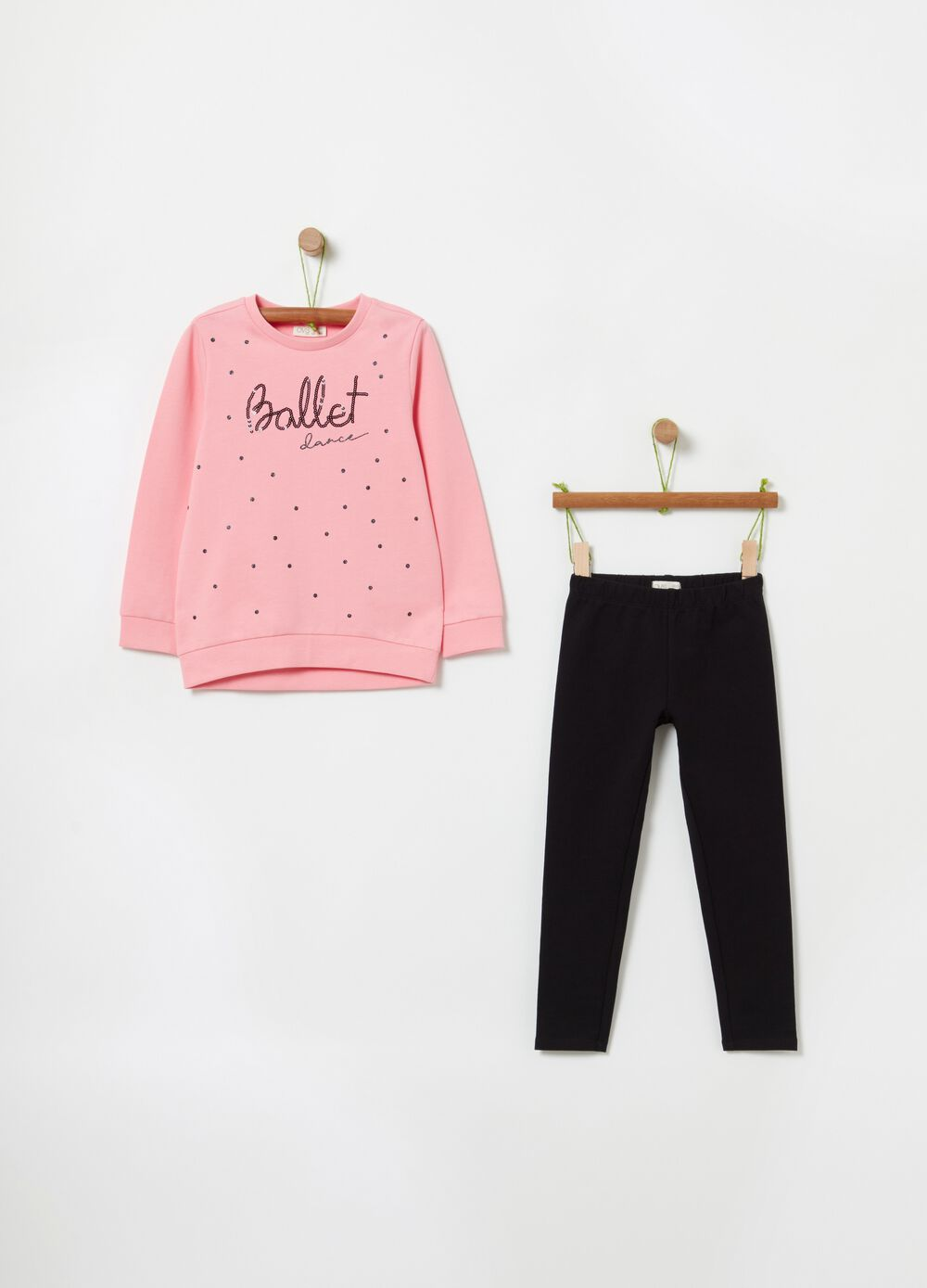 Jogging set with glitter polka dots and diamantés