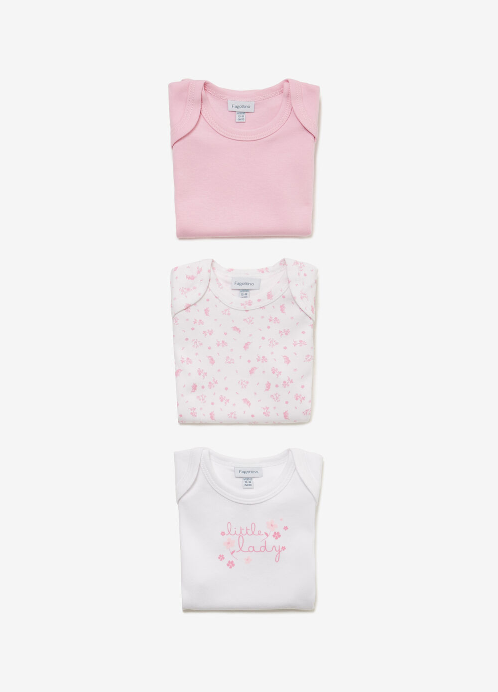 Three-pair pack solid colour and floral bodysuits