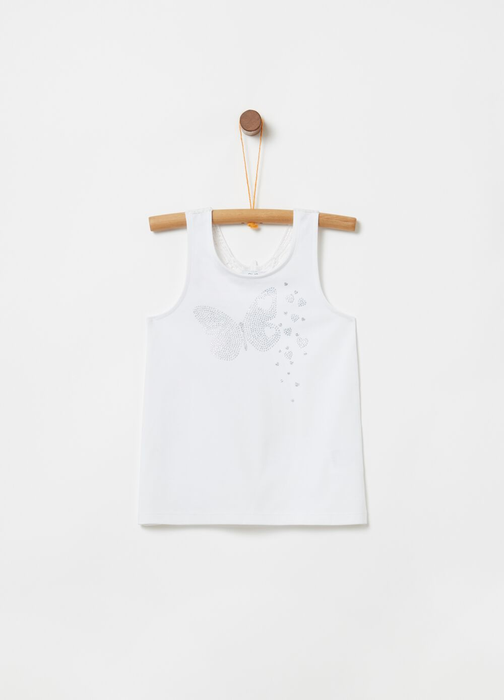 Tank top with insert and diamantés