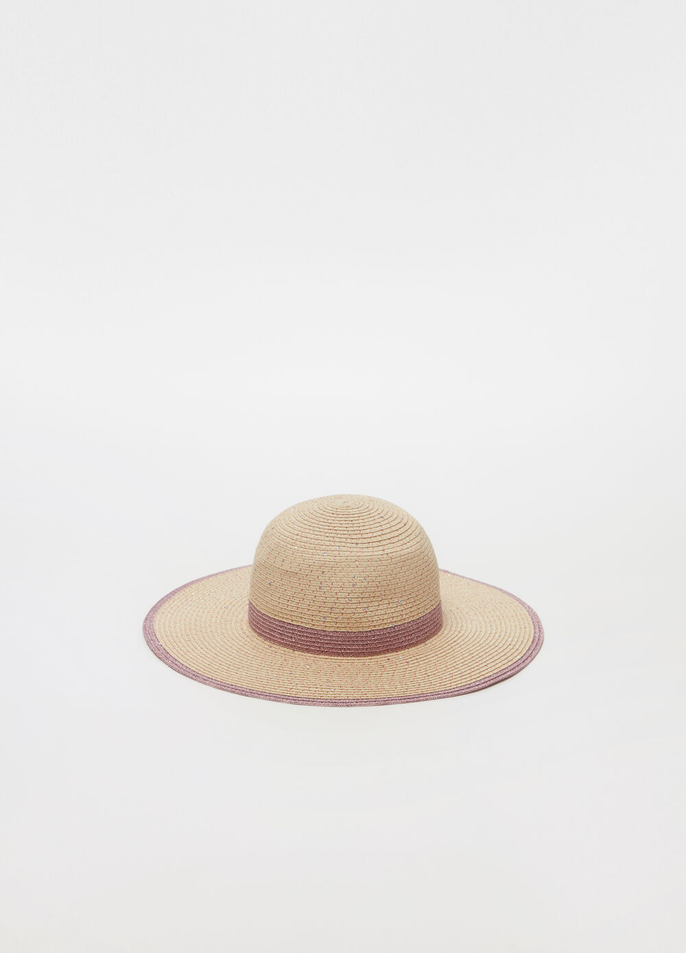 Wide-brimmed straw-effect hat with lurex
