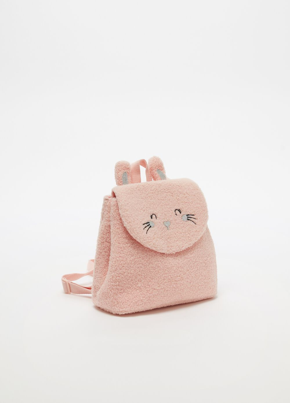 Bouclé-effect backpack with rabbit motif