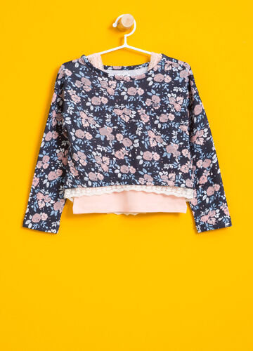 All-over floral print crop T-shirt