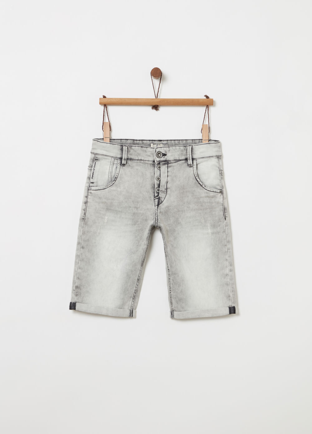 Denim Bermuda shorts with washed effect