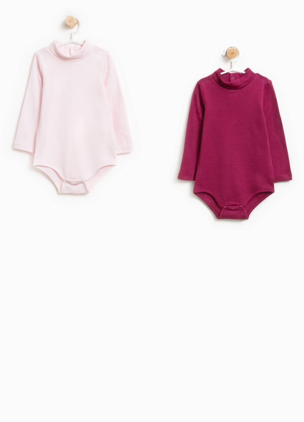 Two-pack bodysuits in 100% cotton with high neck