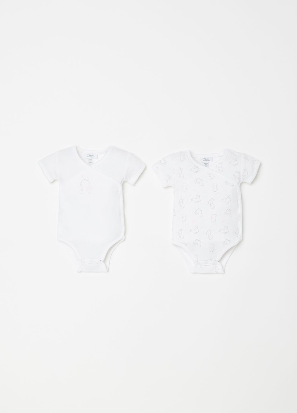 Two-pack printed and patterned bodysuits in 100% cotton