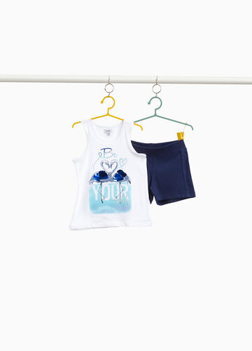 Stretch cotton outfit with swan print