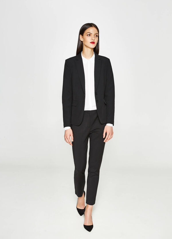 Stretch cotton trousers with zip   OVS