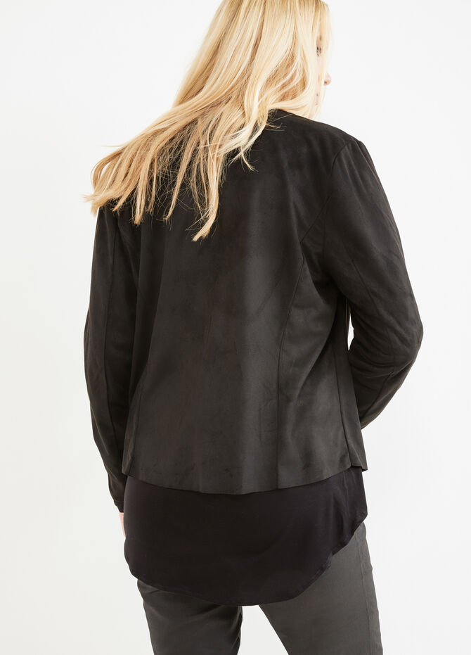 Curvy leather-look jacket with shawl neck